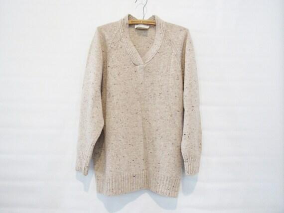 Loose Beige Wool Sweater Medium - Saks Fifth Avenu