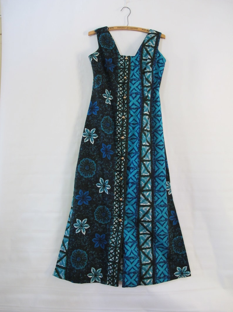 35f0a5ecc9a0 Blue Hawaiian Dress Medium Cotton Made in Hawaii Beach | Etsy