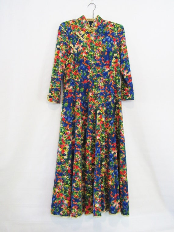 Watercolor Asian Floral Dress  Medium Large - Mid