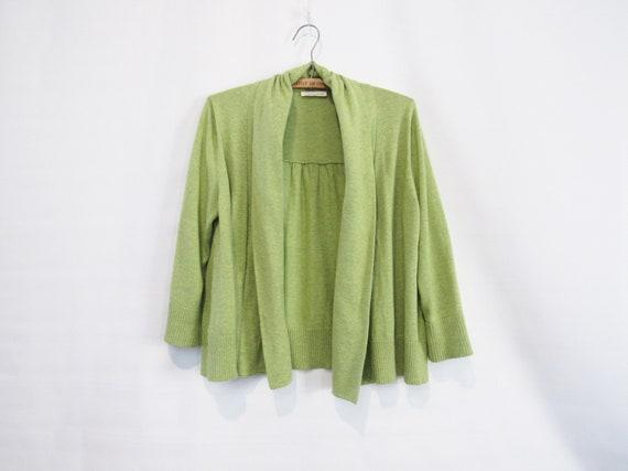 Green Cardigan Medium - Eileen Fisher - Cotton Dra