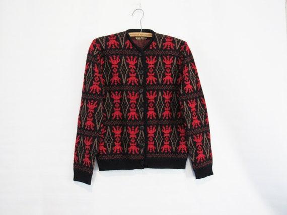 Mid Century Knit Cardigan Medium  - Orange Beige B