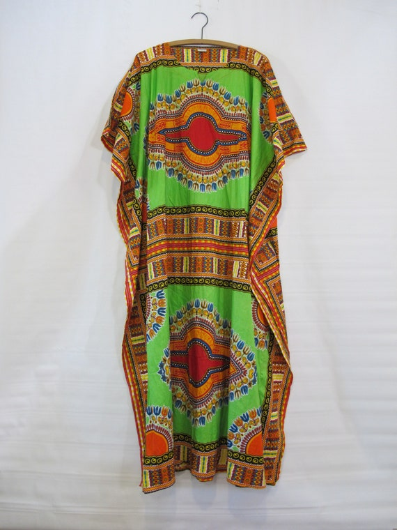 Boho Tribal Caftan Plus Size - Cotton - Vibrant Green Red Orange Dress