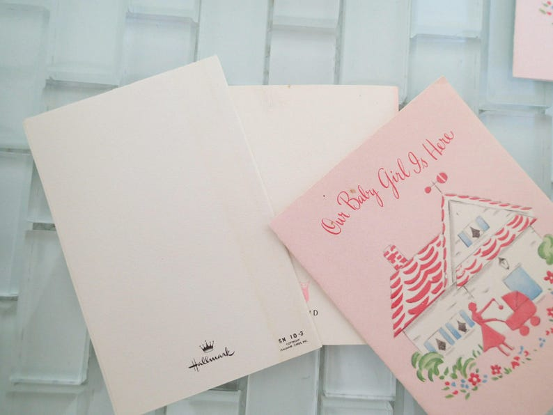 Stork Pram Baby Announcement  It/'s a Girl Mini- Cards Safety Pin 9 cards included