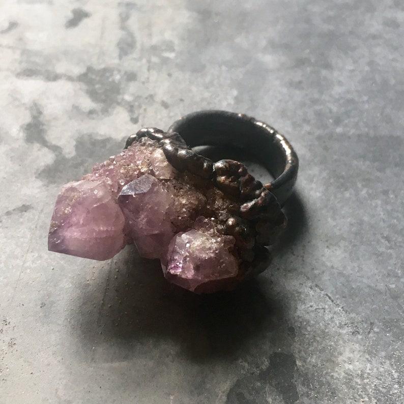 Raw Amethyst Ring Raw Crystal Ring Raw Copper Ring Gemstone Ring Spirit Quartz Ring Electroformed Ring