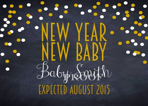 new year pregnancy announcement new year new baby printable photo prop card custom name new years