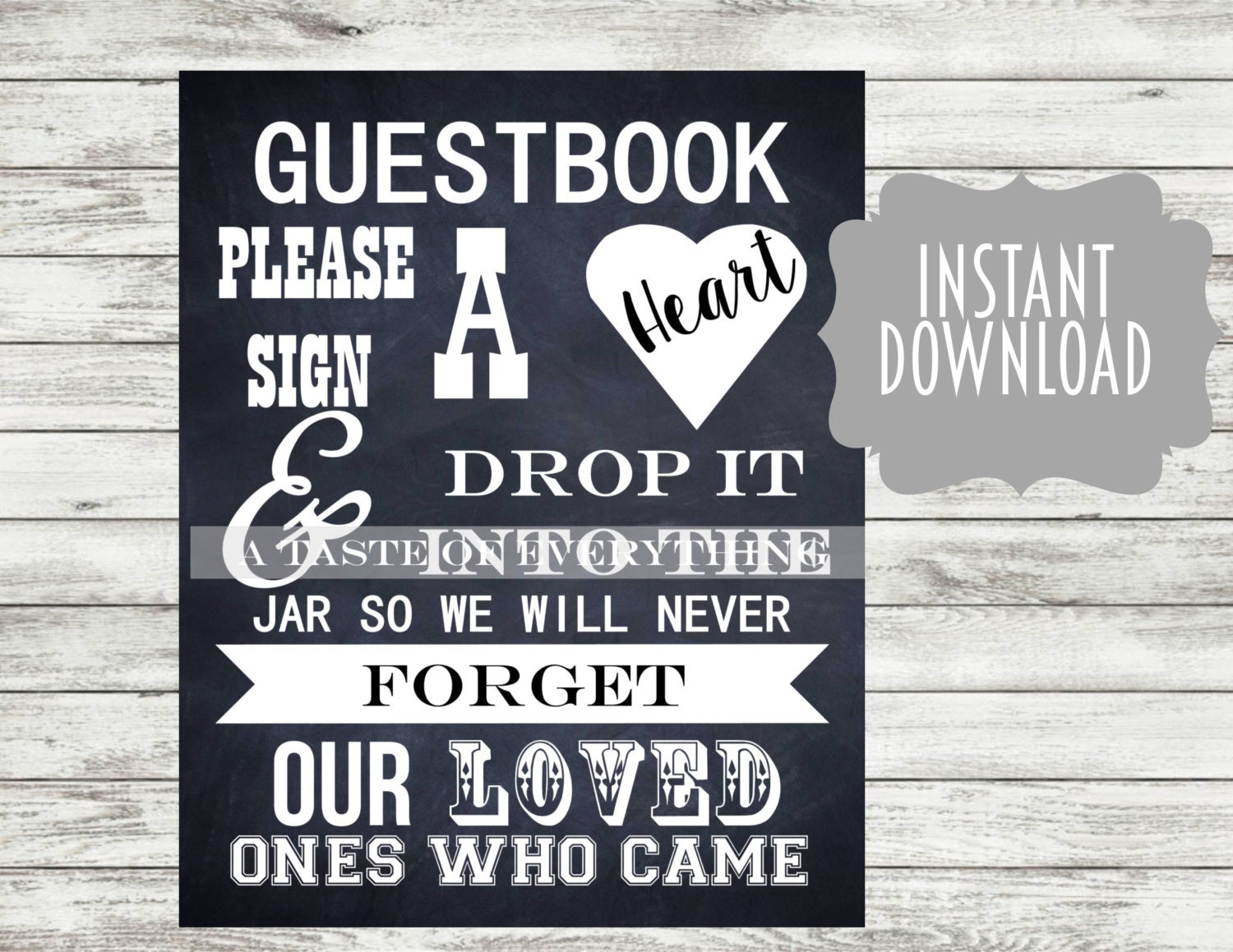 8x10 Chalkboard Guestbook Please Sign A Heart And Drop It
