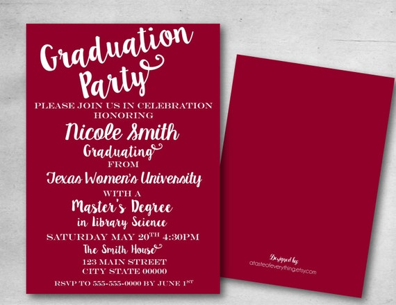 graduation party invitation save the date college masters etsy