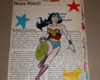 Wonder Woman TV Guide Print Art Jimmy Carter President 1976