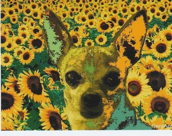 Chihuahua Dog with Sunflowers ACEO Art Trading Card ATC PRINT
