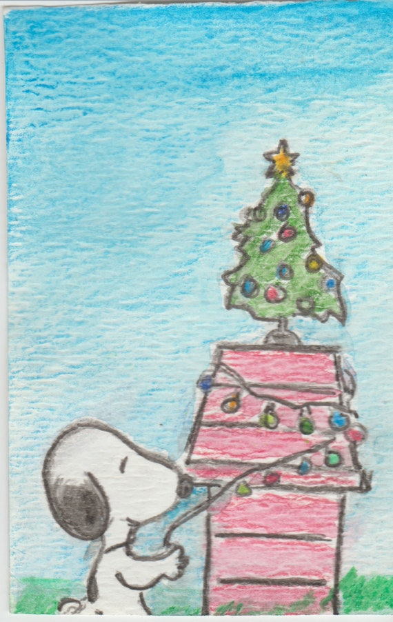 Snoopy Christmas Images.Snoopy Christmas Doghouse Original Watercolor Aceo Art Trading Card Atc