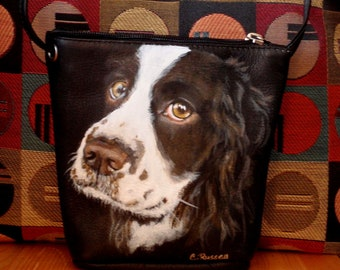 Custom Leather Crossbody Purse aka Small Bucket purse - Your pet on this purse