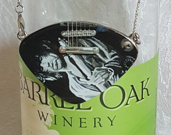 Wine Bottle Charm of Keith Richards (Guitar Pick Shape) and (4) Wine Glass Charms