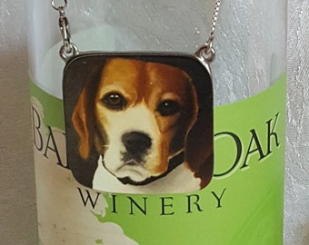 Wine Bottle Charm of 'Buddy' the Beagle and (4) Wine Glass Charms