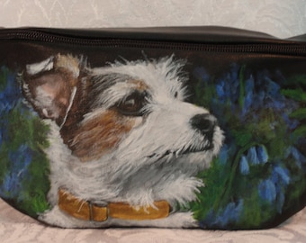 Vegan Faux-Leather Bum Pack aka Hip Bag Painted portrait of 'Oliver'