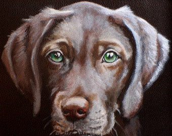 Framed Hand Painted Leather iPad/Tablet Case of 'Dylan' a Weimaraner