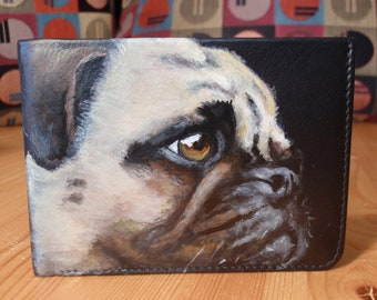 Bi-fold Leather Wallet with Card Slots of 'Vera' the Pug.