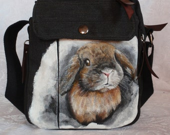 Canvas Messenger Travel Bag 'Claire' the Bunny