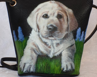 Hand Painted Leather Crossbody Purse of 'Homer' a Yellow Lab puppy