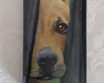 Hand Painted Slim Wallet with Snap Closure Flap - with a portrait of Georgia