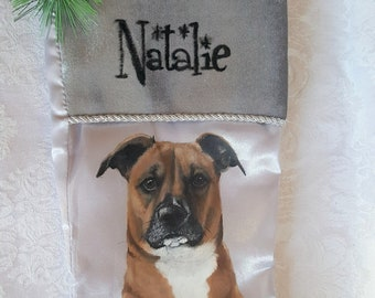 Custom Hand Painted Christmas Stocking with YOUR Pet's Portrait