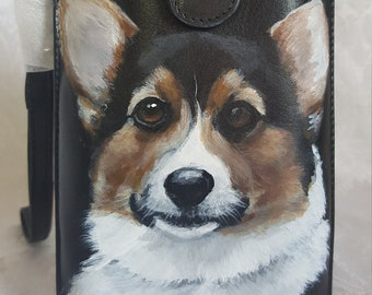 Leather Phone Case Crossbody fits IPhone 6 and Android phones hand painted Lucy a Tri-colored Corgi