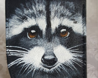 Front Pocket Leather Wallet with 'Hank' the Raccoon hand painted.