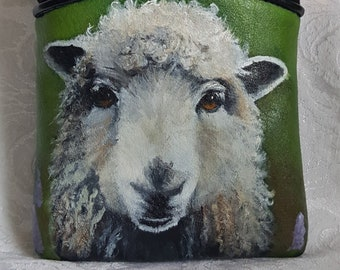 Hand Painted Crossbody Purse painted with a portrait of Bridgid, the Irish Sheep