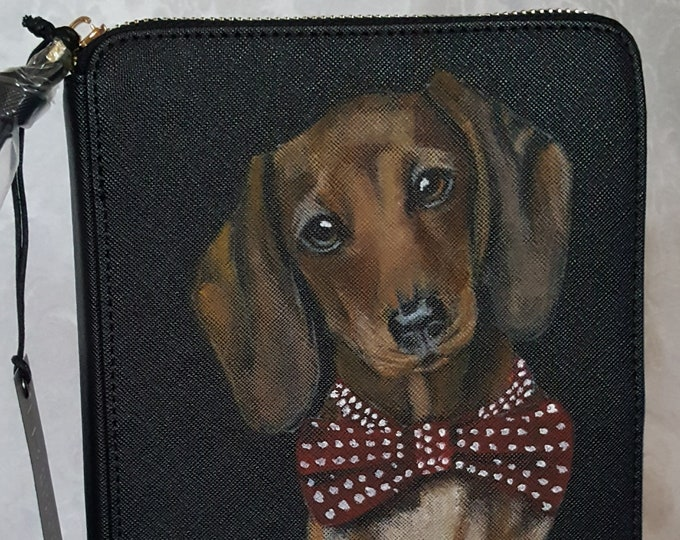 Featured listing image: Hand Painted Pet Portrait Jewelry Organizer Portfolio Vegan Leather with a portrait of Leon, the Dachshund