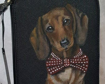 Custom Painted Jewelry Organizer Portfolio Vegan Leather handpainted with a portrait of YOUR Pet
