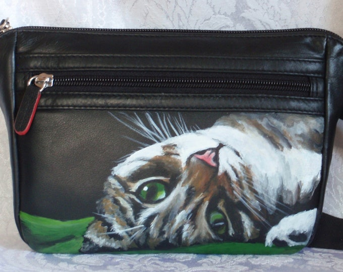 Featured listing image: ili leather Slim Belt Bag with Brenda Lee hand painted on front