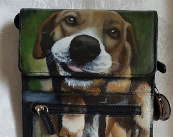 Leather Travel Organizer Handpainted with 'Stan'