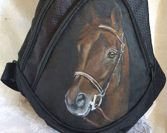 Sling Bag Backpack with Hand Painted Portrait of Henry