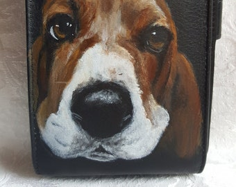 Phone Wallet Crossbody Purse Leather Hand Painted Basset Hound Dog