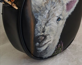 Custom Hand painted faux vegan leather crossbody purse hand painted with portrait of YOUR Pet