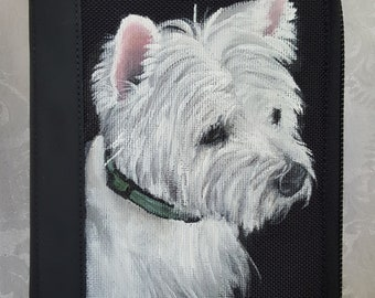 Custom Painted Rugged Portfolio for Business, Documents and Notepad Holder. Hand Painted with YOUR Pet's portrait