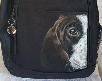 Handpainted Backpack - Hand Painted Portrait of Darcy a German Short Haired Pointer- Black Laptop Backpack