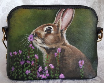 Vegan Leather Handpainted Purse with 'Pat' the Bunny
