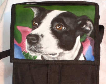 Custom Freezable Wine Tote for Two Bottles hand painted with YOUR pet's portrait