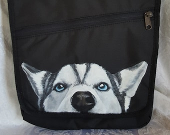 Eddie Bauer Connect Tech Travel Bag Handpainted with Ava a Siberian Husky
