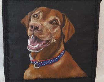 Custom Painted Nylon Insulated Lunch Bag with YOUR Pet's portrait