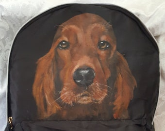 Custom Painted Paravel Fold-up Backpack with Murphy the Irish Setter