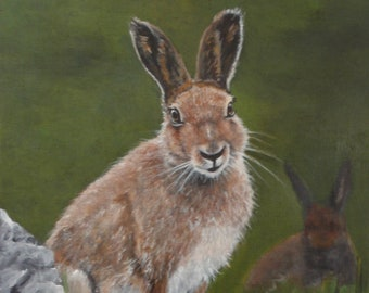 "Irish Collection Original Acrylic Painting of 'Harry', an Irish Hare.  Framed in a Black and Gold Floater frame  12""x16"""