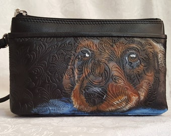Custom Paintd Leather Wristlet with a portrait of YOUR Pet