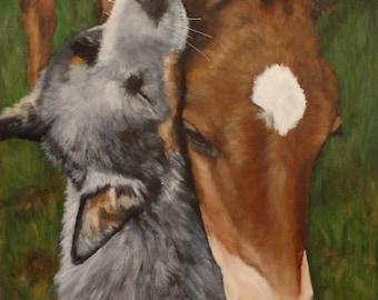 "Original Painting 12""x16"" Portrait of 'Duke & Daisy'"