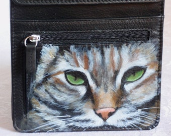 Custom Painted Leather Travel Organizer Bag with YOUR pet's portrait