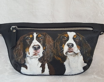 Custom Painted leather Waistbag Bag Hip Bag Bum Bag Fanny Pack hand painted with YOUR PET'S Portrait