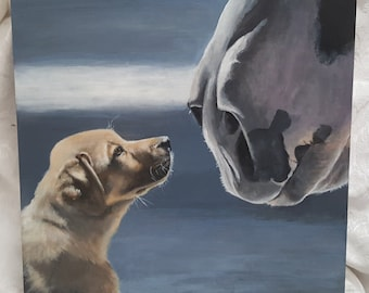 """Original Painting 'Jake & Clyde' a Yellow Lab Puppy and a Clydesdale horse 16""""x 16"""""""