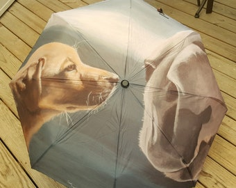 Automatic Folding Umbrella printed with my painting 'Jake & Clyde' the Yellow Labrador puppy and Clydesdale