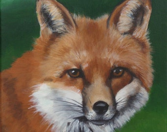 "Original 8""x8"" Acrylic Painting of Marian, the fox. Framed in a Black and Gold Crinkle frame"