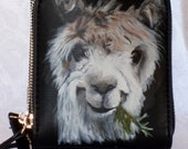 Customs Painted Vegan Leather Wristlet Crossbody Purse with a portrait of YOUR Pet